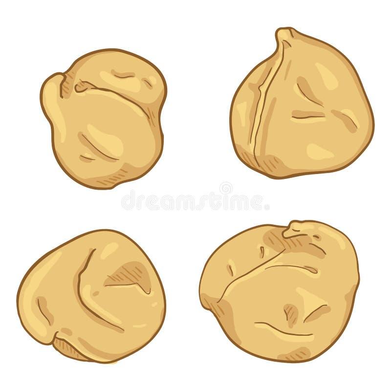 Grupo do vetor de grão-de-bico dos desenhos animados ilustração royalty free