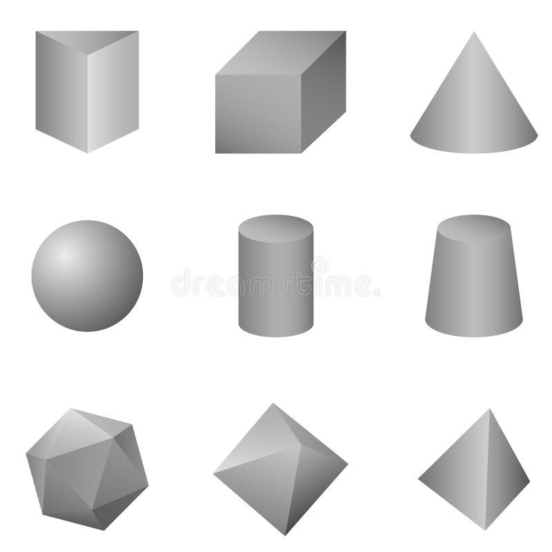 Grupo do vetor de Gray Gradient Geometrical Shapes ilustração do vetor