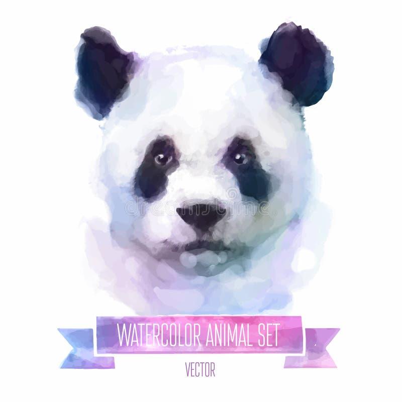Grupo do vetor de ilustrações da aquarela Panda bonito ilustração stock