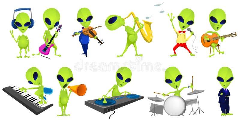 Grupo do vetor de ilustrações verdes da música dos estrangeiros ilustração royalty free