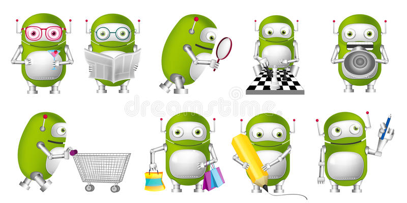 Grupo do vetor de ilustrações verdes dos robôs ilustração do vetor