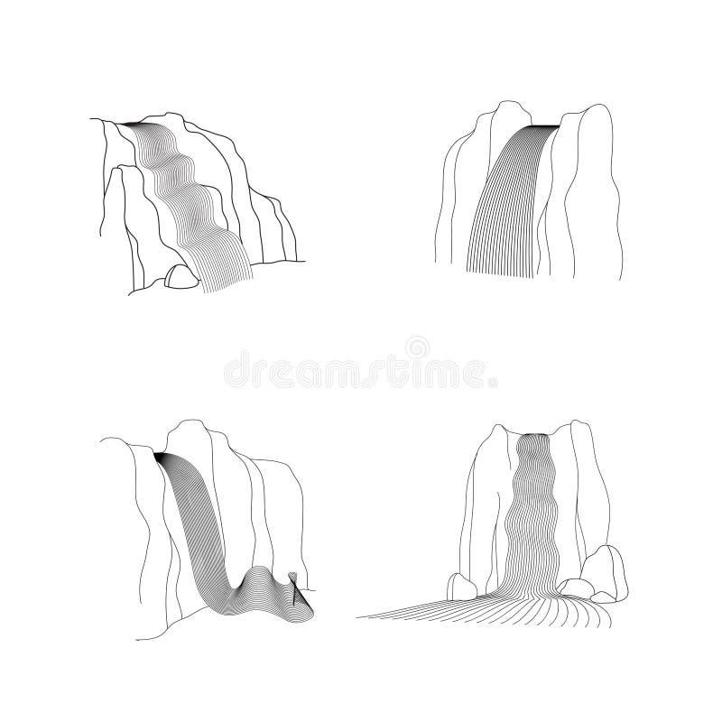 Grupo do vetor de ilustra??o da cascata da cachoeira ilustração do vetor