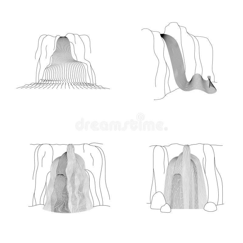 Grupo do vetor de ilustra??o da cascata da cachoeira ilustração royalty free