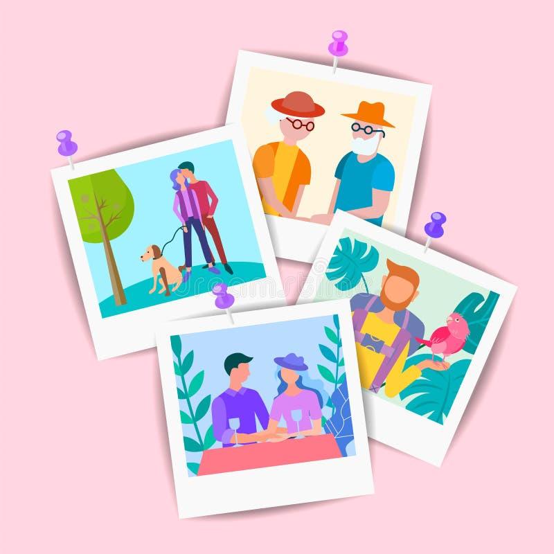 Grupo do vetor de imagens de familiares e amigo idosos e novos ilustração do vetor