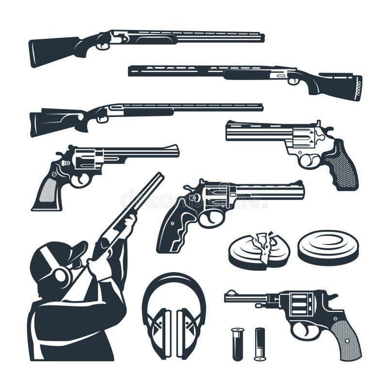 Grupo do vetor de imagens monocromáticas de armas e de acessórios diferentes para o clube de tiro ilustração stock