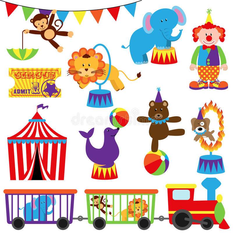 Grupo do vetor de imagens temáticos do circo bonito ilustração stock