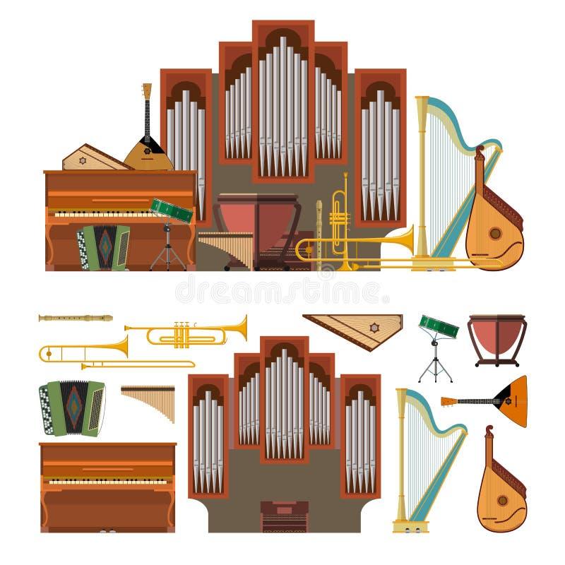 Grupo do vetor de instrumentos musicais no estilo liso Elementos do projeto e ícones da música ilustração do vetor