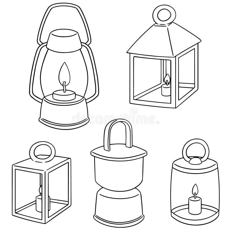 Grupo do vetor de lanterna ilustração do vetor