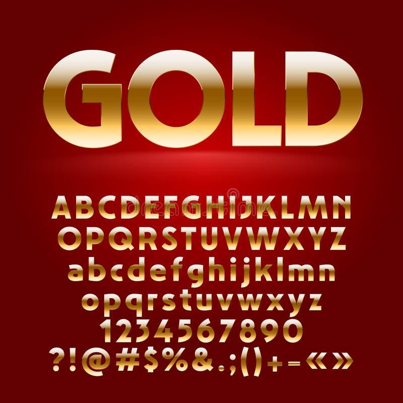 Grupo do vetor de letras, de símbolos e de números decorativos do ouro ilustração stock