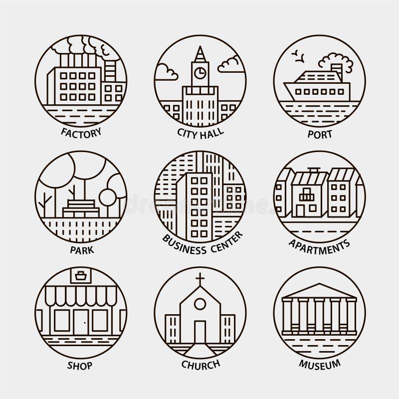 Grupo do vetor de linha ícones do círculo da cidade ilustração stock