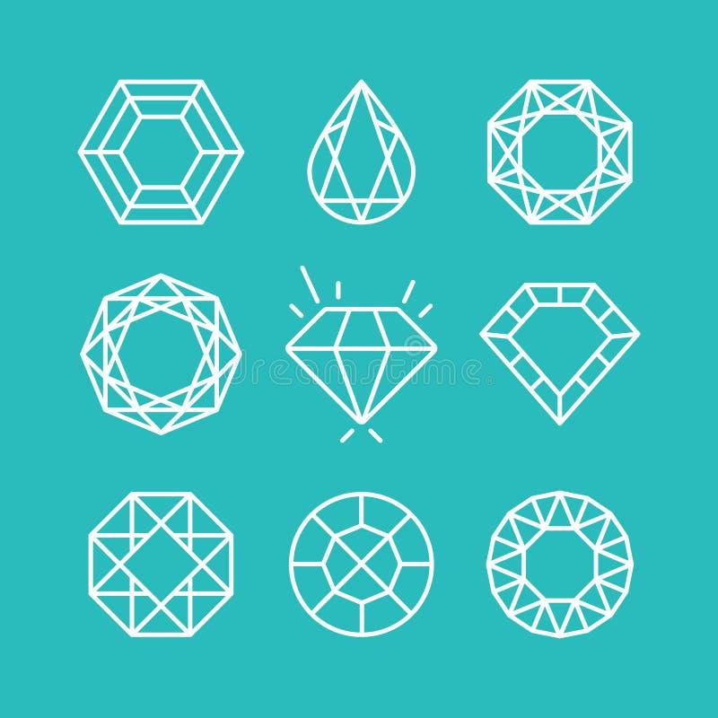 Grupo do vetor de linha ícones e sinais do diamante ilustração do vetor