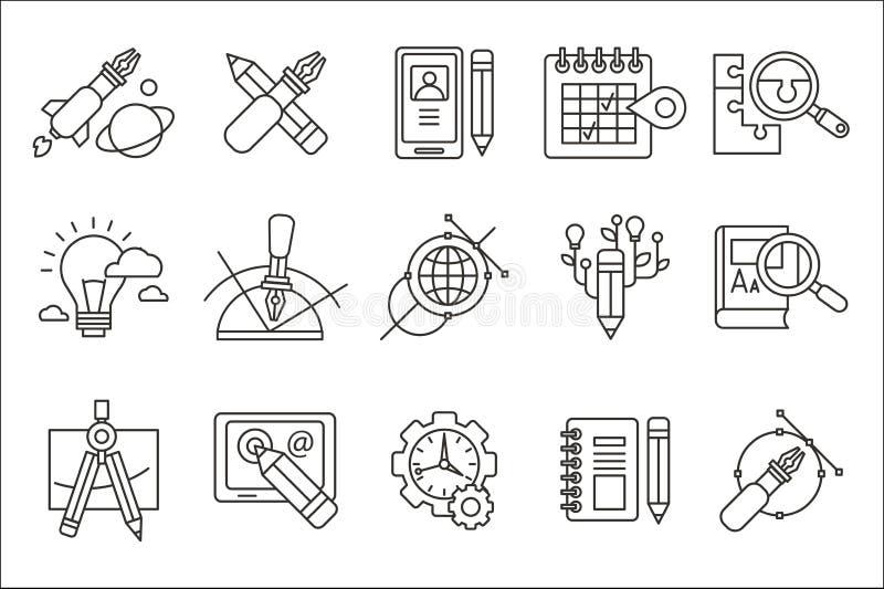 Grupo do vetor de linha abstrata ícones da arte Projeto de Digitas e produção criativa Web e programação de software, educação ilustração do vetor