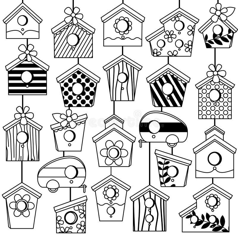 Grupo do vetor de linha bonito Art Birdhouses ilustração do vetor