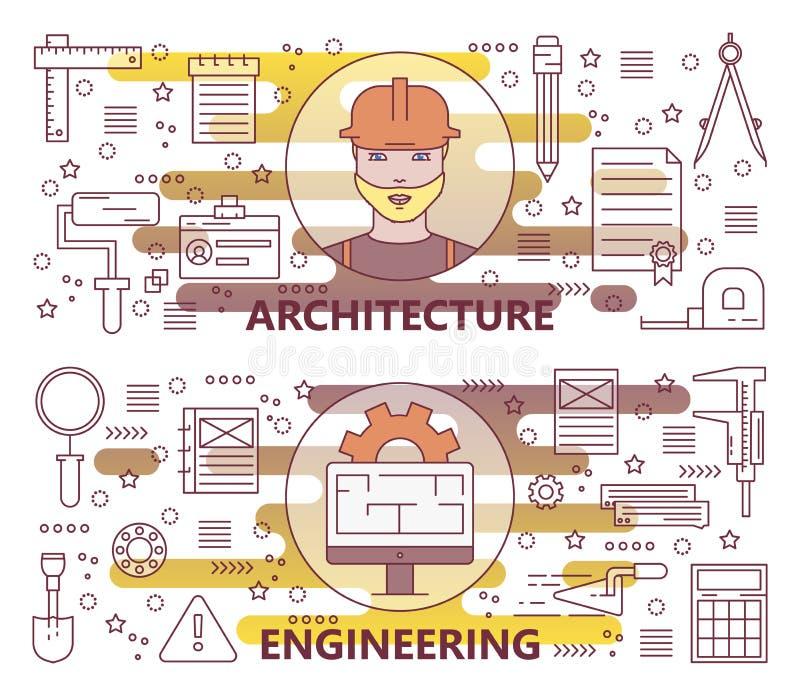 Grupo do vetor de linha fina moderna arquitetura e de bandeiras da engenharia ilustração stock