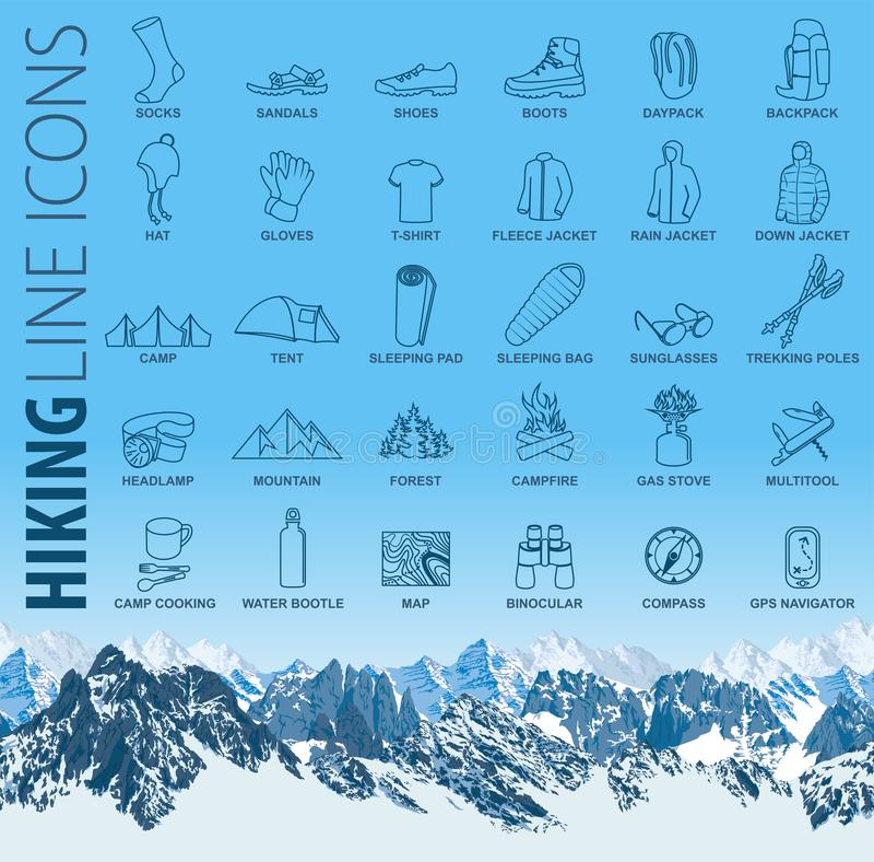 Grupo do vetor de linha fina que caminha ícones de acampamento do curso com montanhas sem emenda ilustração stock