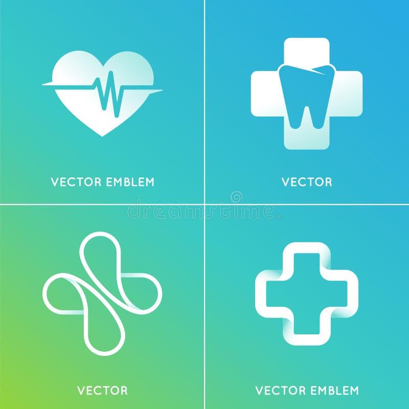 Grupo do vetor de logotipos abstratos e de emblemas - medicina alternativa ilustração do vetor
