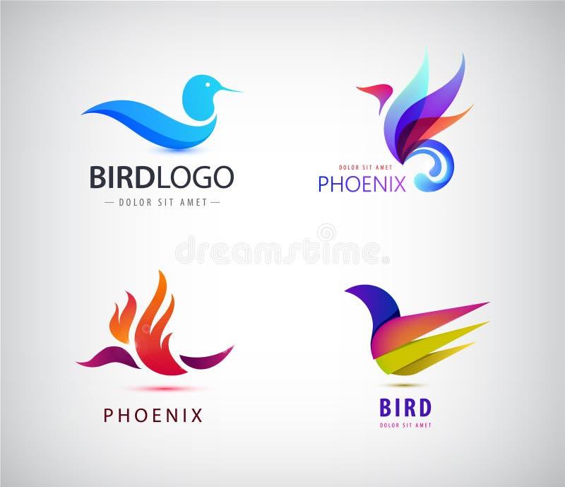 Grupo do vetor de logotipos dos pássaros, ícones de phoenix isolados ilustração do vetor