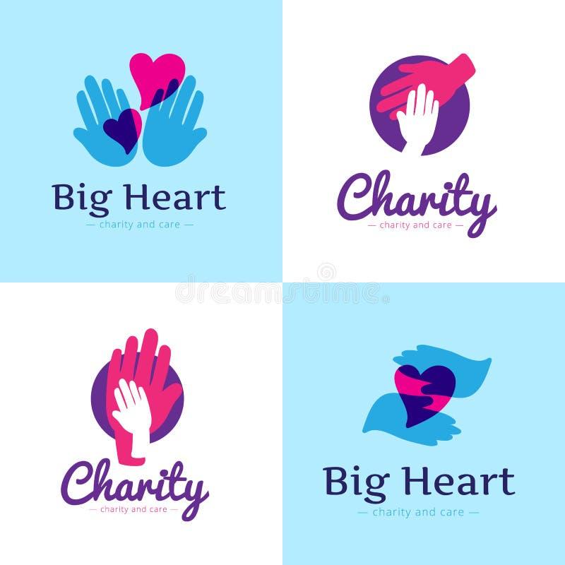 Grupo do vetor de logotipos limpos do centro da caridade Logotipos do hospital com mãos e coração ilustração do vetor