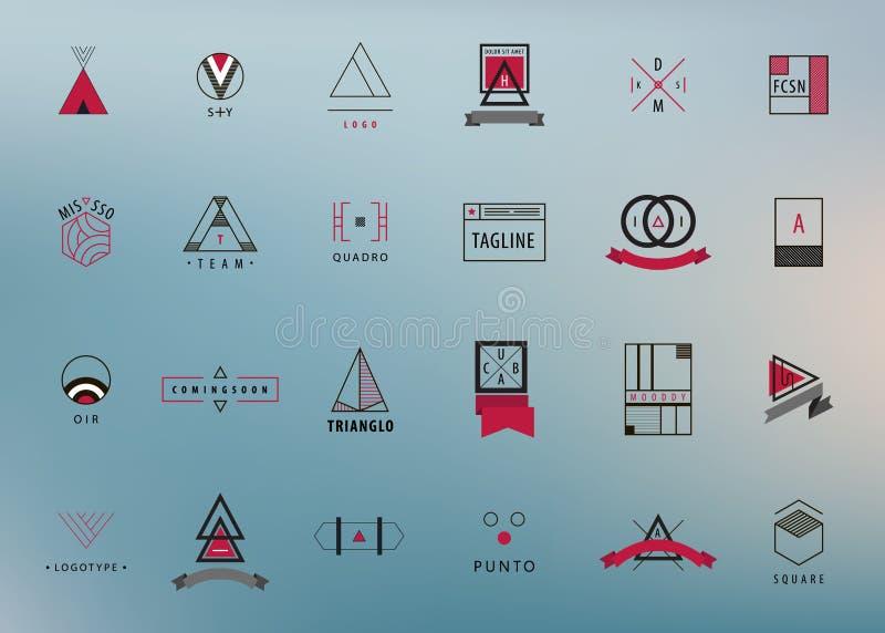 Grupo do vetor de logotipos modernos e mínimos do esboço, geométrico - quadrado, círculo, triângulo ilustração do vetor