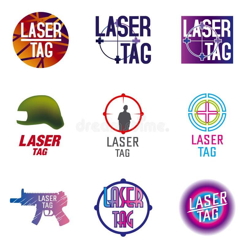 Grupo do vetor de logotipos para a etiqueta do laser ilustração do vetor