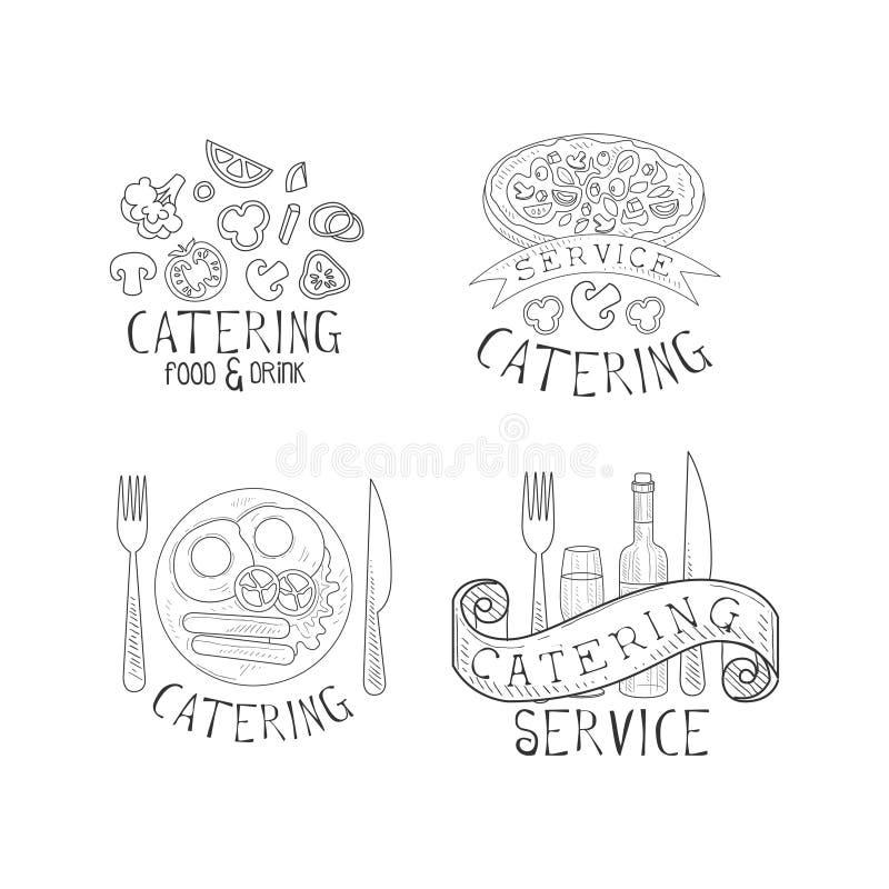 Grupo do vetor de 4 logotipos para serviços de abastecimento Esboce emblemas com vegetais, pizza saboroso, café da manhã inglês,  ilustração stock