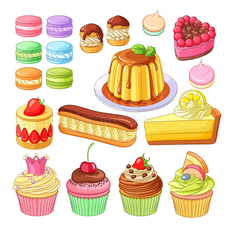 Grupo do vetor de macarons coloridos das sobremesas, profiteroles, torta, morango mais fraisier, eclair, bolo do limão, torta de  ilustração stock