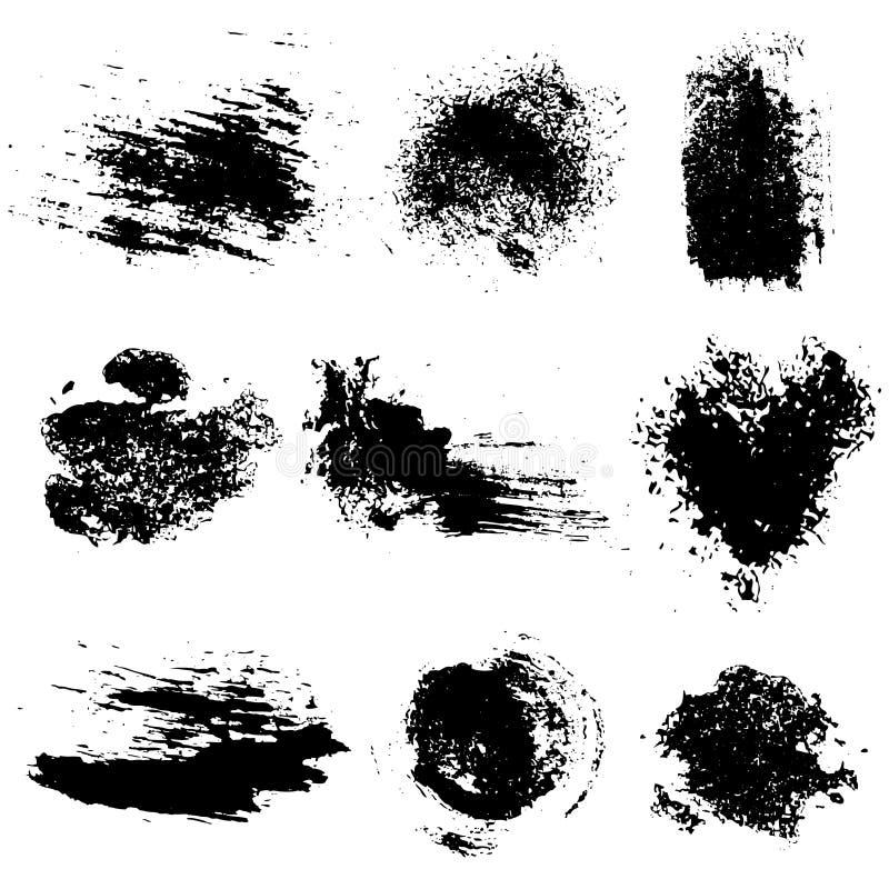 Grupo do vetor de manchas do inc e de cursos pretos da escova ilustração royalty free