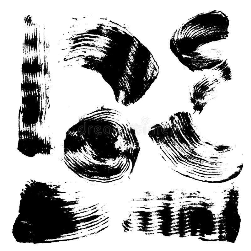 Grupo do vetor de manchas do inc e de cursos pretos da escova, no fundo branco ilustração stock