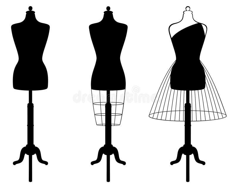 Grupo do vetor de manequins fêmeas isolados na cor preta ilustração stock