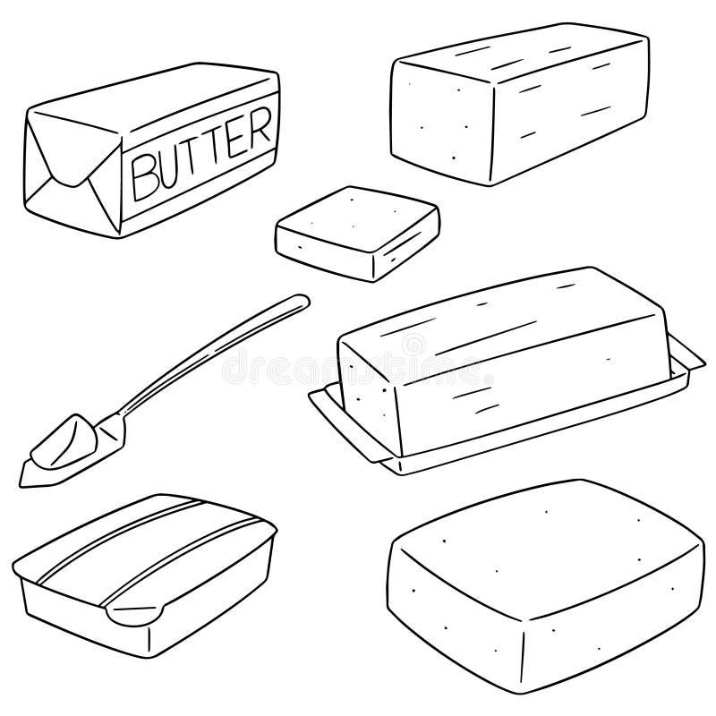 Grupo do vetor de manteiga ilustração stock