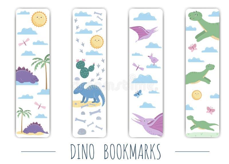 Grupo do vetor de marcador bonitos com os dinossauros coloridos bonitos ilustração do vetor