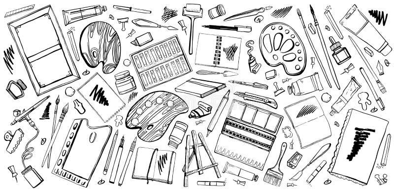 Grupo do vetor de materiais tirados mão do artista do vetor do esboço Ilustração estilizado preto e branco com as ferramentas da  ilustração royalty free
