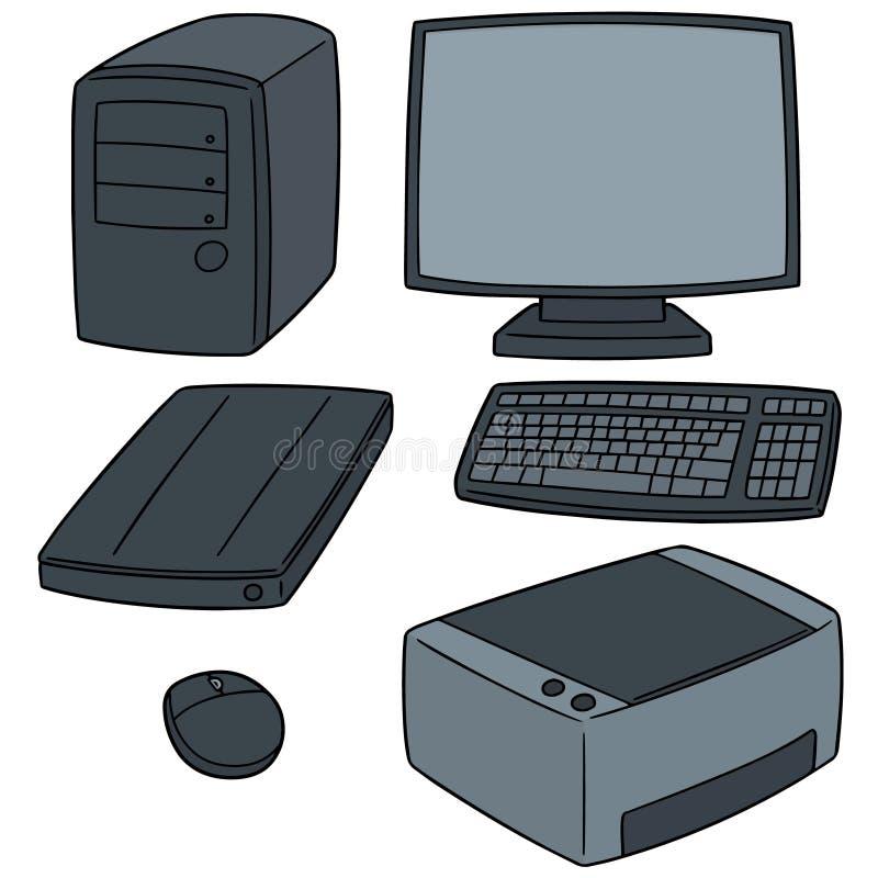 Grupo do vetor de material informático ilustração royalty free