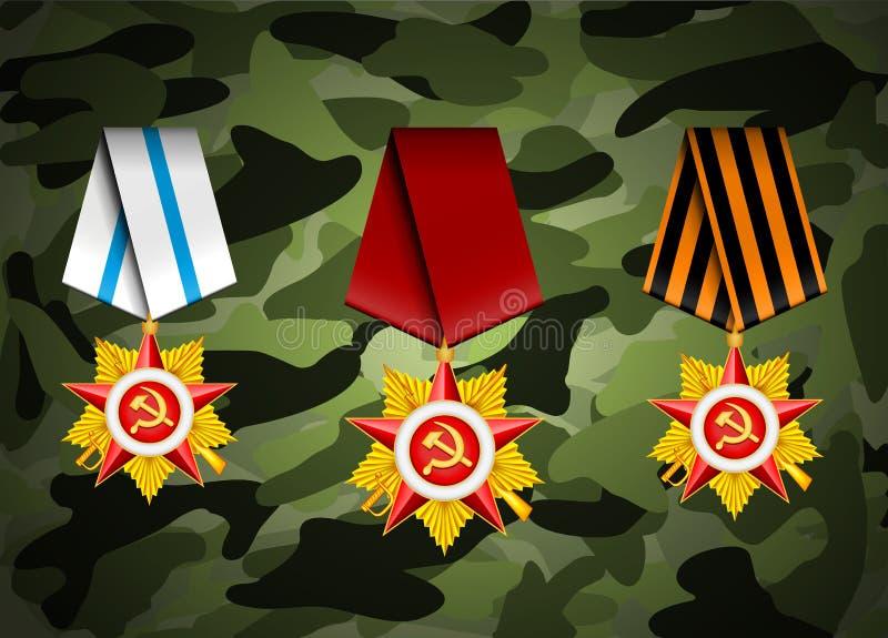 Grupo do vetor de medalhas militares ilustração royalty free