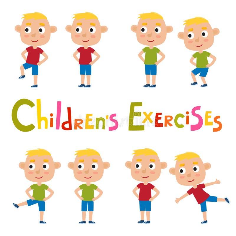 Grupo do vetor de meninos louros em poses dos exercícios isolados em b branco ilustração royalty free