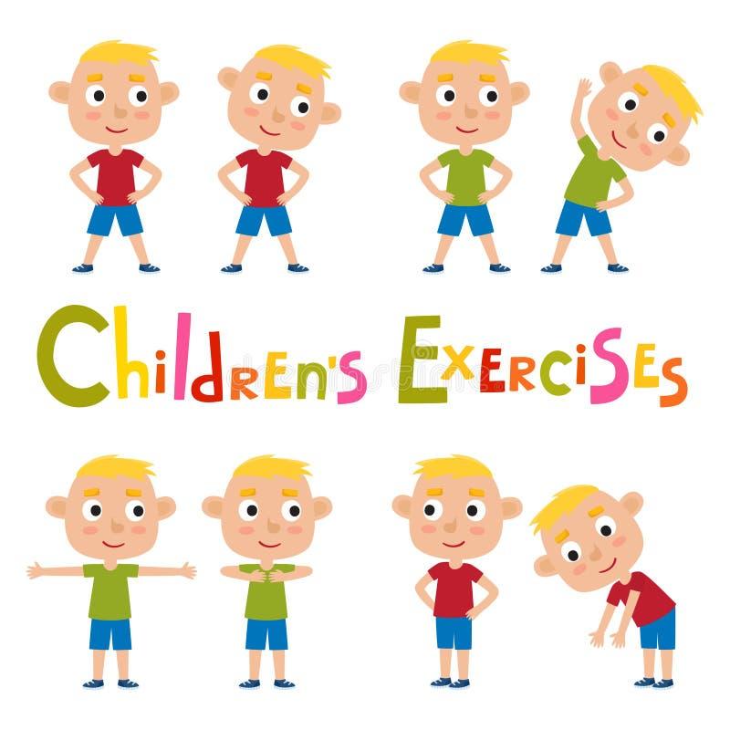 Grupo do vetor de meninos louros em poses dos exercícios isolados em b branco ilustração stock