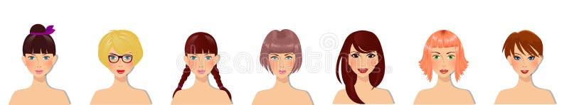 Grupo do vetor de moças bonitas com vário penteado, cor dos olhos e tipos faciais ilustração stock