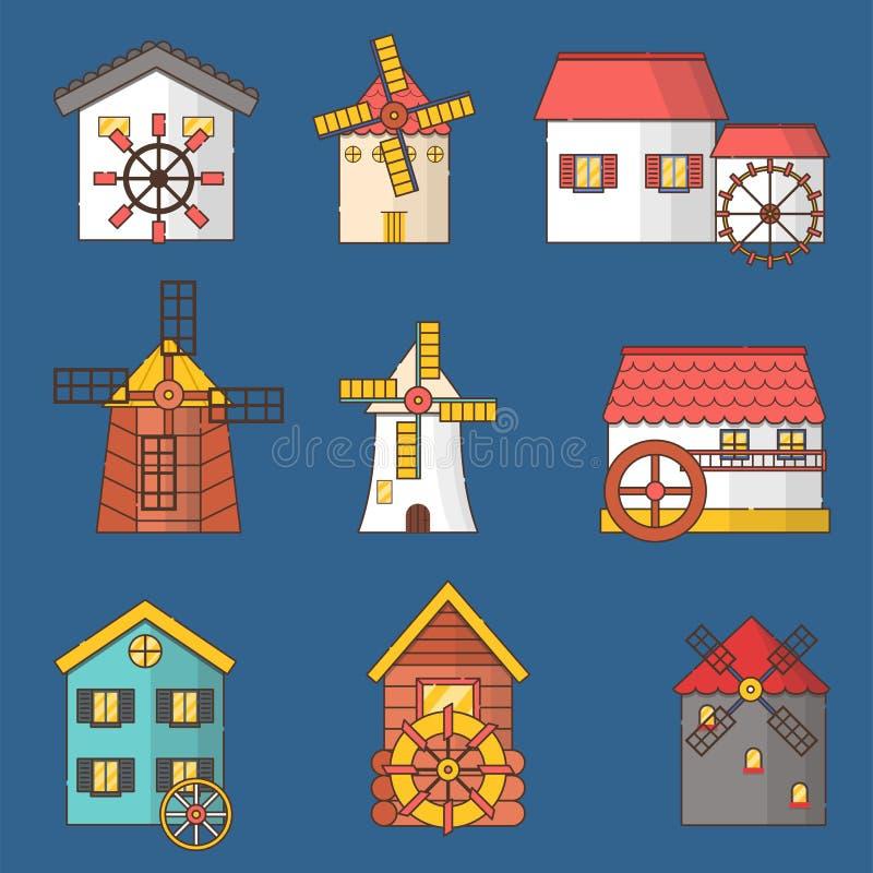 Grupo do vetor de moinhos de vento e de ícones dos watermills isolados no fundo ilustração royalty free