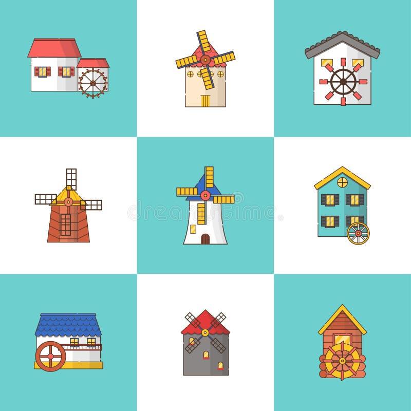 Grupo do vetor de moinhos de vento e de ícones dos watermills isolados no fundo ilustração do vetor
