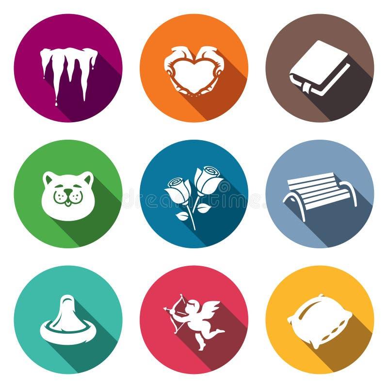 Grupo do vetor de mola que data ícones Derretimento, romance, poesia, março, ramalhete, andando, amor, emoção, cama ilustração stock