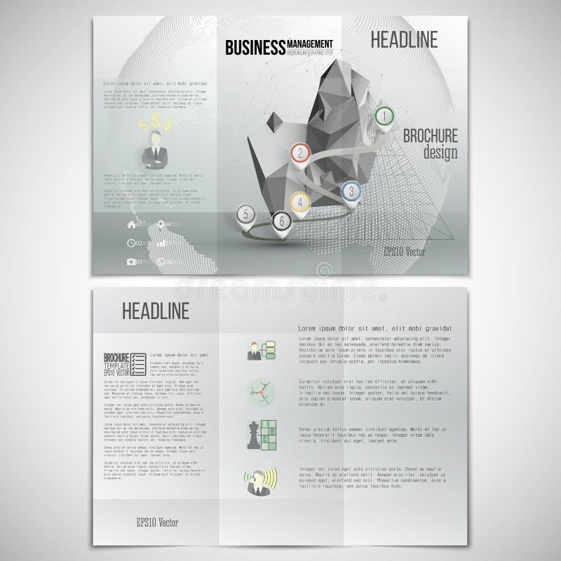 Grupo do vetor de molde dobrável em três partes do projeto do folheto sobre ilustração royalty free