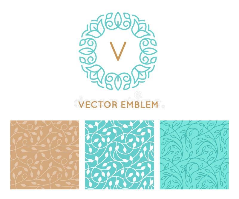 Grupo do vetor de moldes do projeto do logotipo, de testes padrões sem emenda e de sinais ilustração do vetor