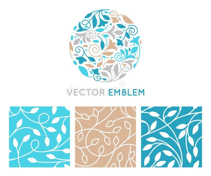 Grupo do vetor de moldes do projeto do logotipo, de testes padrões sem emenda e de sinais ilustração royalty free