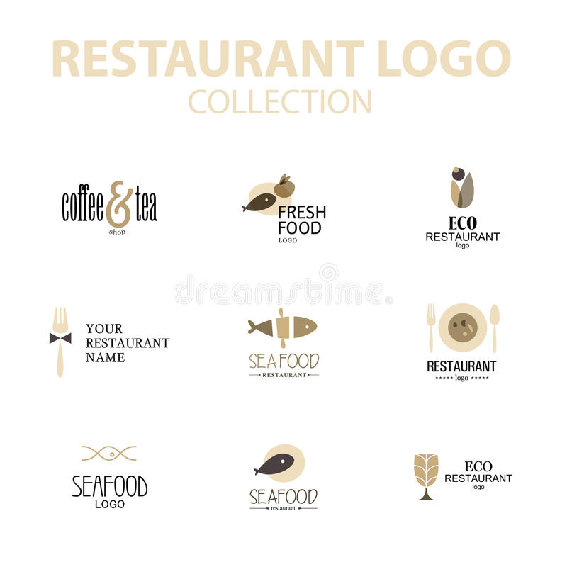 Grupo do vetor de moldes do projeto do logotipo do restaurante ilustração do vetor