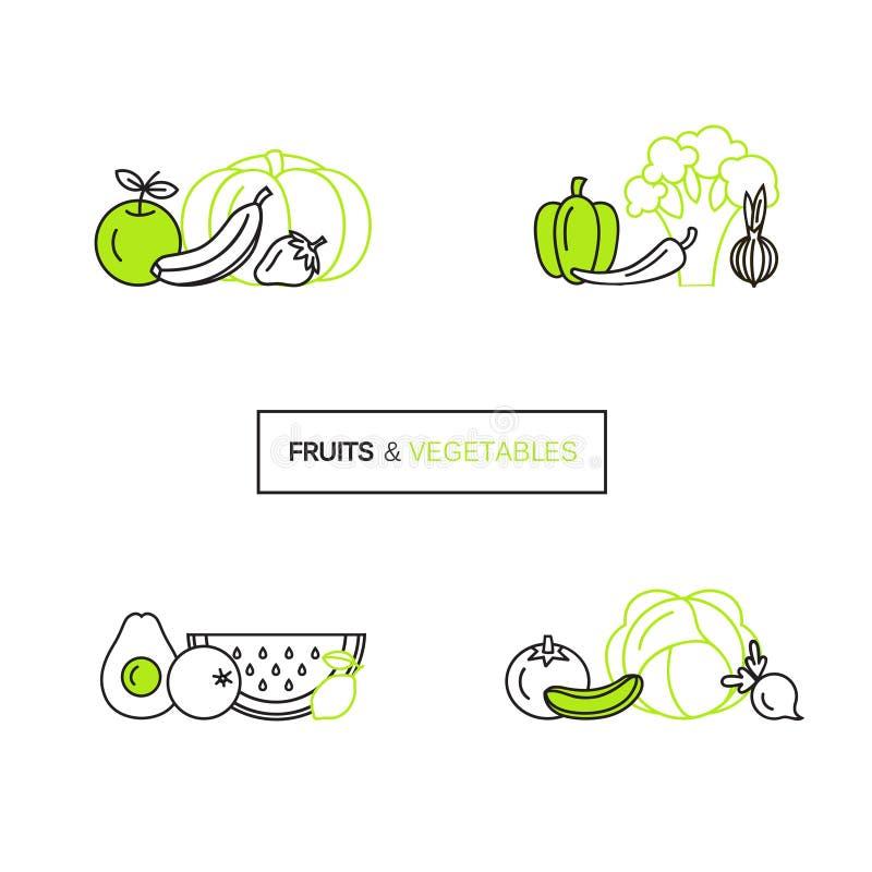 Grupo do vetor de moldes do projeto do logotipo na linha estilo para produtos orgânicos - símbolos do ícone das frutas e legumes ilustração do vetor