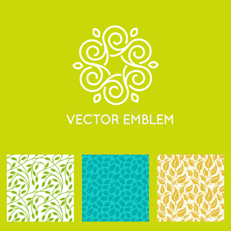 Grupo do vetor de moldes do projeto do logotipo, testes padrões sem emenda ilustração do vetor