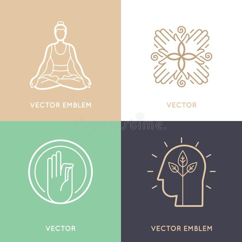 Grupo do vetor de moldes e de símbolos abstratos do projeto do logotipo ilustração do vetor