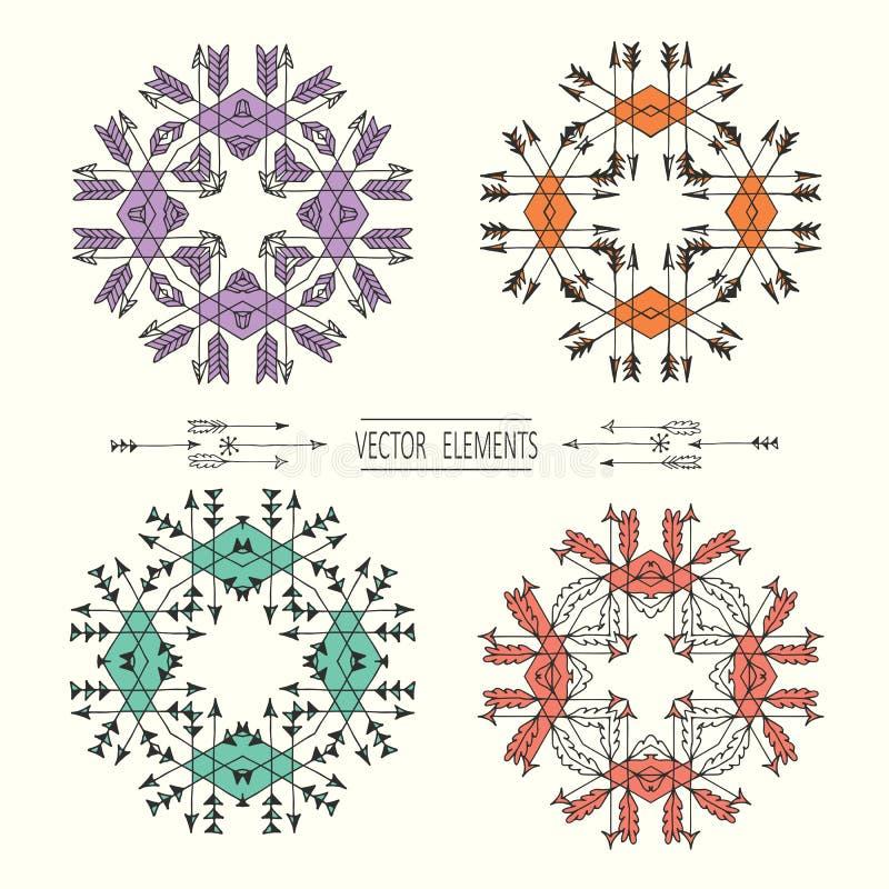 Grupo do vetor de moldes e de símbolos do projeto do logotipo no estilo linear na moda ilustração stock