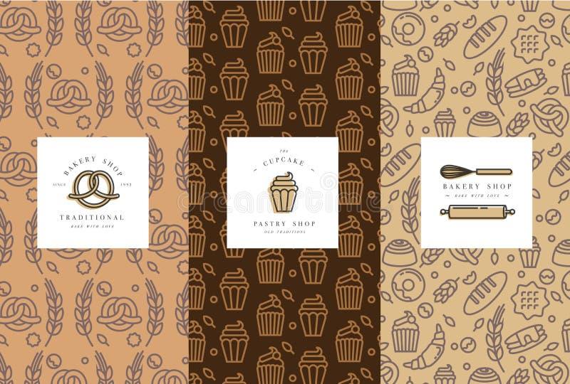 Grupo do vetor de moldes e de elementos do projeto para a padaria que empacota no esboço na moda ilustração do vetor