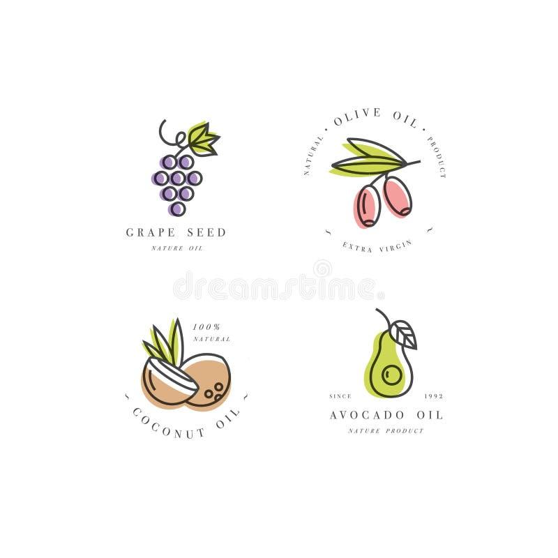 Grupo do vetor de moldes e de emblemas do projeto de empacotamento no estilo linear - beleza e óleos dos cosméticos ilustração stock